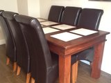 Dinning room table and 6 real leather chairs